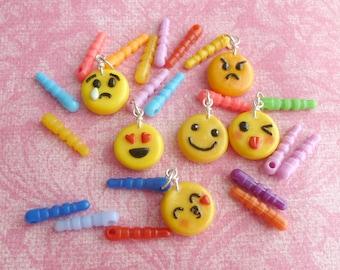 Emoji Dust Plug Charm Set Kawaii Phone Charms Polymer Clay Emoji Charms