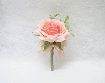Real Touch Peach Rose Corsage / Boutonnieres, Real Touch Rose Boutonnieres, Cottage Wedding Corsage, Wedding Boutonniere