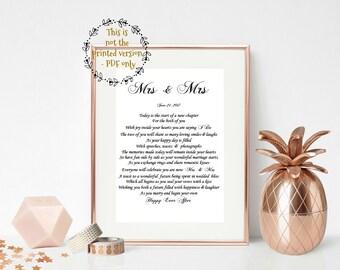 Lesbian Wedding Gift, PRINT YOUR OWN,  Lesbian Couple, Mrs and Mrs, Bride and Bride gift,  Wedding gift for lesbian couple