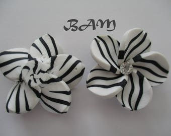 Zebra flower rhinestone 40 mm