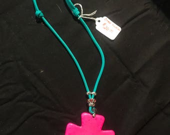 Hot Pink Cross Necklace