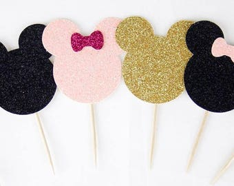 Disney Mickey or Minnie Mouse Glitter Cupcake Toppers