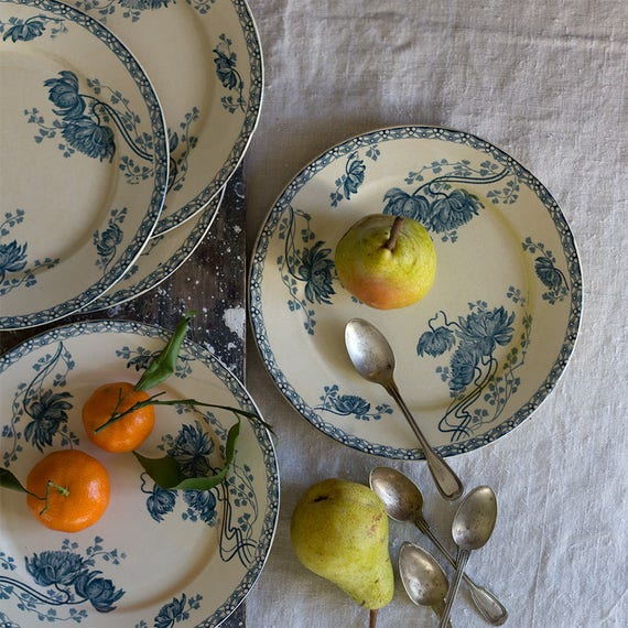 RESERVED - French Dahlia & Fern Dinner Plates - Set of 5