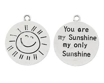 You Are My Sunshine My Only Sunshine Charm - Sun Charm - Sun Pendant - Message Charm - Message Pendant (SP45628)