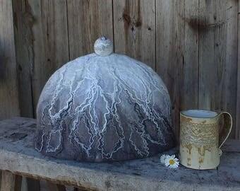 Teapot Cozy, Felted Tea Pot Cosy, Gray Tea Pot Warmer, Gray Felt Teapot Cover