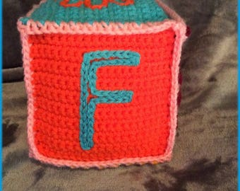 Letter F Soft Block, Hand Crocheted