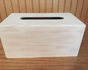 Wooden tissue box holder, kleenex cover, farmhouse decor, white distressed tissue box cover