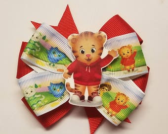"""Daniel Tiger Friends Inspired Red 3"""" Layered Boutique Hair Bow Alligator Clip/French Barrette/Ponytail Holder"""