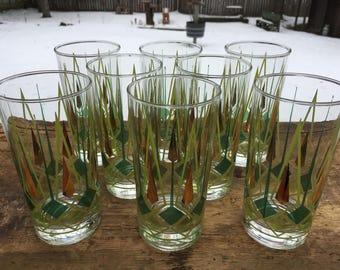 Mid Century Highball Glasses Federal Glass Set of 8 Atomic Era 1960s Retro Vintage Glassware Art Deco Barware Starburst Pattern Green Gold