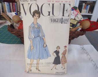 1958 Vintage Vogue Special Design Dress Pattern Pleated Skirt Pintuck Bodice Dress with Slip Size 18 Bust 38