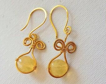 Gold wire Earrings bead earrings dangle earrings
