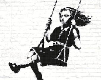 "swing murales Counted Cross Stitch banksy Pattern chart needlepoint street art needlecraft - 15.00"" x 21.00"" - L1006"