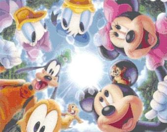 "Disney characters Counted Cross Stitch Disney Pattern pdf embroidery needlepoint needlecraft -  - 17.71"" x 25.29"" - L962"