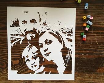 Custom family portrait PAPER CUT 20x20cm {family picture gift, family photo gift, custom photo gift, custom picture gift, handmade paper cut