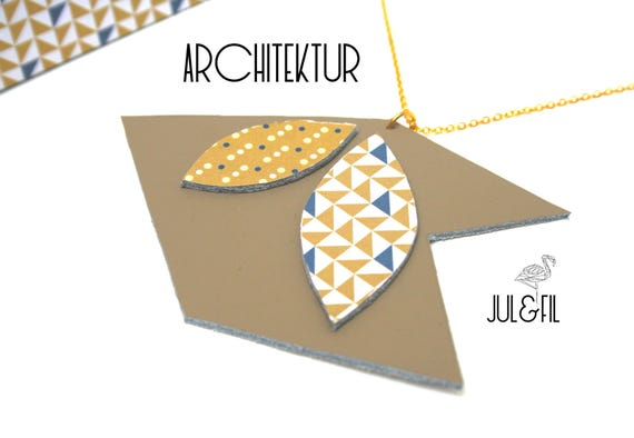 DESTASH necklace gold plated 24 k and genuine leather, unstructured architecture leather taupe, shuttle, chevron, triangles, polka dots