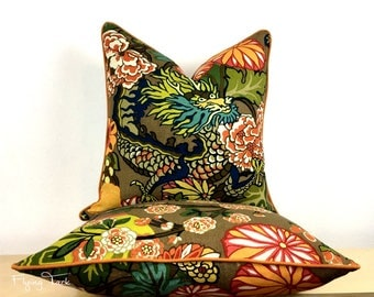 Mocha Chiang Mai Dragon Pillow cover - Same Fabric BOTH SIDES - Piped Finish - Customize - Schumacher Designer Fabric
