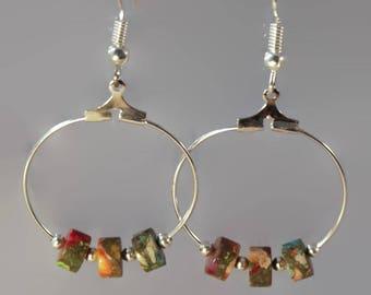 Jasper hoop earrings, rainbow jasper earrings, heishi jasper earrings, rainbow jasper heishi hoop earrings, hoop earrings, jasper earrings.