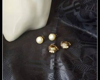 Vintage  clip-on earrings, two pairs