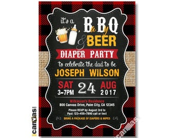 Diaper Party Invitation, Beer & Diaper, Beer BBQ Baby Shower. Dad-to-Be, BabyQ, Men's Red Plaid Burlap Chalkboard, Printable or Printed BS20