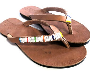 Beaded Leather Flip Flops