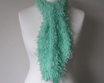 GetWoolly Lightweight scarf, pale, crisp, spring, green, mint, spearmint, sea green, hand knitted, ribbon