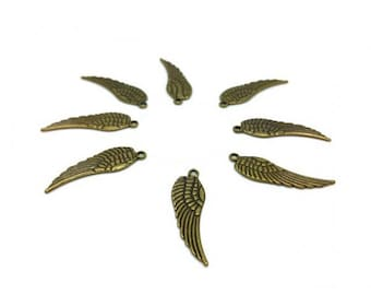 50 charms Bronze wings