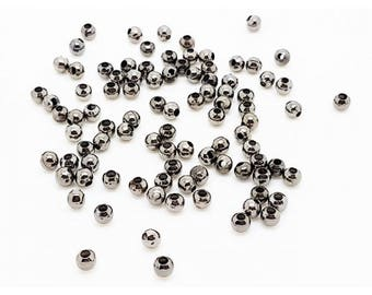 1000 metal beads spacers gunmetal 3.2 mm