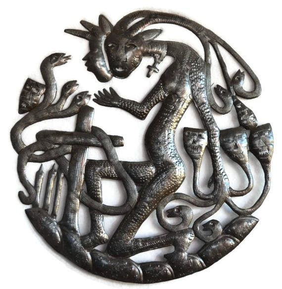 "Voodoo Three Headed Snake, Mythical Wall Sculpture, Haiti Metal Art 21.52"" x 22"""
