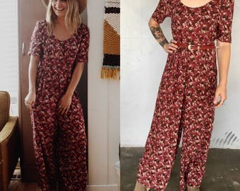 Vtg Floral Jumpsuit burgundy red short sleeve romper pant suit size 9/10 baggy oversized scoop light cotton by All That Jazz festival sale
