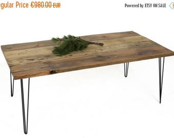 Rustic Table, Dining Table made from Rustic Wood with Stabile Hairpin Table Legs