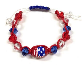 Hand Painted USA Flag in Heart Glass Beads Pull-String Bracelet