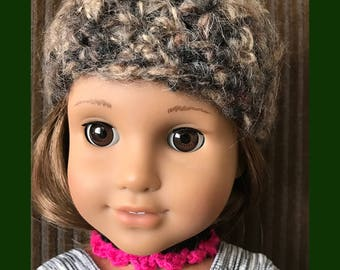 "18"" Doll Hat Set - Handmade Crochet Hat Scarf and Necklace Set for American Girl Doll 18"" Doll - Item D18"
