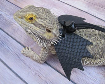 Leather Lizard Harness--Stark Black Dragon with Wings
