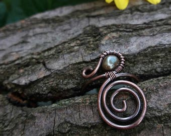 Copper ring, Wire ring, Copper ring with freshwater pearl