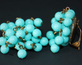 1950s Aqua Cluster Earrings West Germany Clip On Dangle Bead