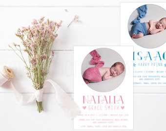 Personalised Birth Announcement | Thank You Cards with Envelopes