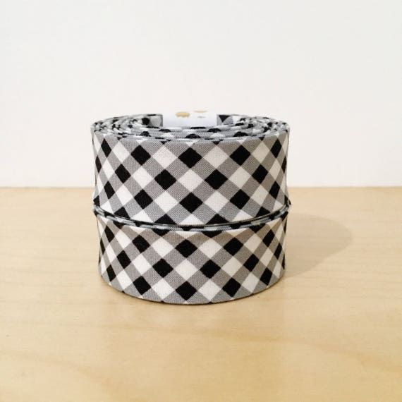 """1"""" Wide Bias Tape in black and white gingham check 1"""" double-fold binding- buffalo plaid- 2 yard roll"""