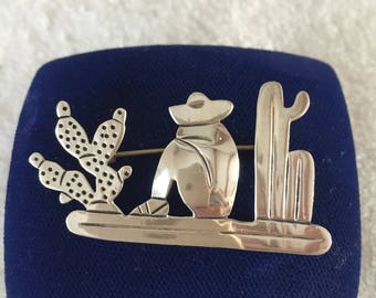 Taxco Sterling Brooch, 1940's Mexican Siesta Cactus, 925 Sterling Silver Pin, Signed V. Mendez Brooch