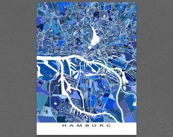 Hamburg Map Print, Hamburg Germany, City Art Maps, Europe