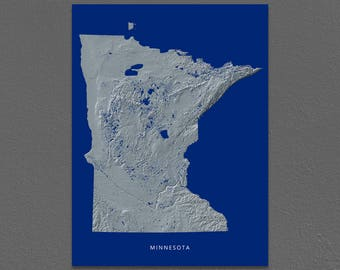 Minnesota Map, Minnesota Wall Art, MN State Art Print, Landscape, Navy Blue
