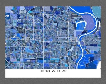 Omaha Map Print, Omaha Nebraska, Omaha Art, USA City Maps