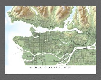 Vancouver City Map Print, BC Canada, Landscape Art