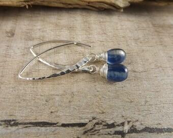 Kyanite earrings~silver and gemstone earrings~dangle earrings~blue gemstone earrings~gemstone earrings~minimalist dangle gemstone earrings