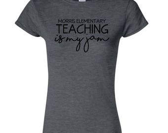 Teaching is my Jam Women's Cut T-Shirt - Custom Teacher T-Shirt - Teacher Gift - Teacher Appreciation T-Shirt Gift