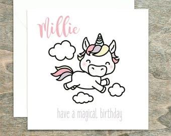 Personalised Birthday Card, Unicorn Birthday Card, Personalised Unicorn Card, Girls Birthday Card, Cute Birthday Card
