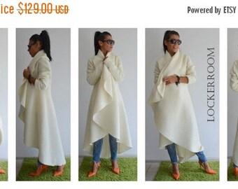 ON SALE Long winter coat /White ASYMMETRIC Cashmere Long coat / White Coat / Woman Winter Coat