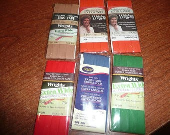 Wright's Extra Wide Double Fold Bias Tape Packages Assorted Colors