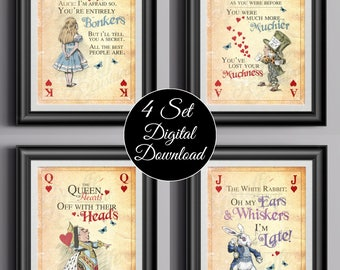 ALICE IN WONDERLAND Instant Download Wall Art Giant Playing Cards set of 4 - Alice - Mad Hatter - Queen of Hearts - White Rabbit