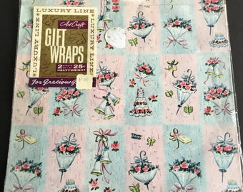 Vintage Bridal shower wrapping paper, umbrellas, bells, Luxury Line