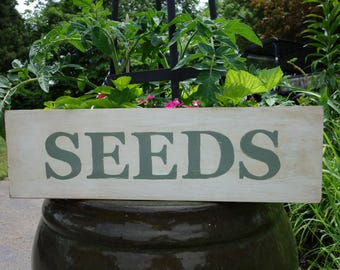 Country Seeds Sign on Salvaged Pine Wood, Hand-Painted Distressed Rustic Seed Sign, Reclaimed Wood Sign, She Shed, Porch or Pantry Decor